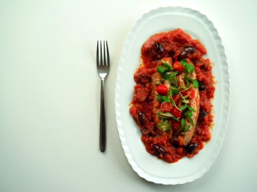 panseared mackerel in tomato sauce
